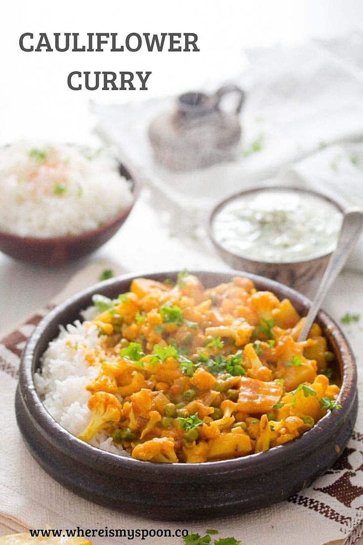, Cauliflower Curry with Potatoes – Vegan