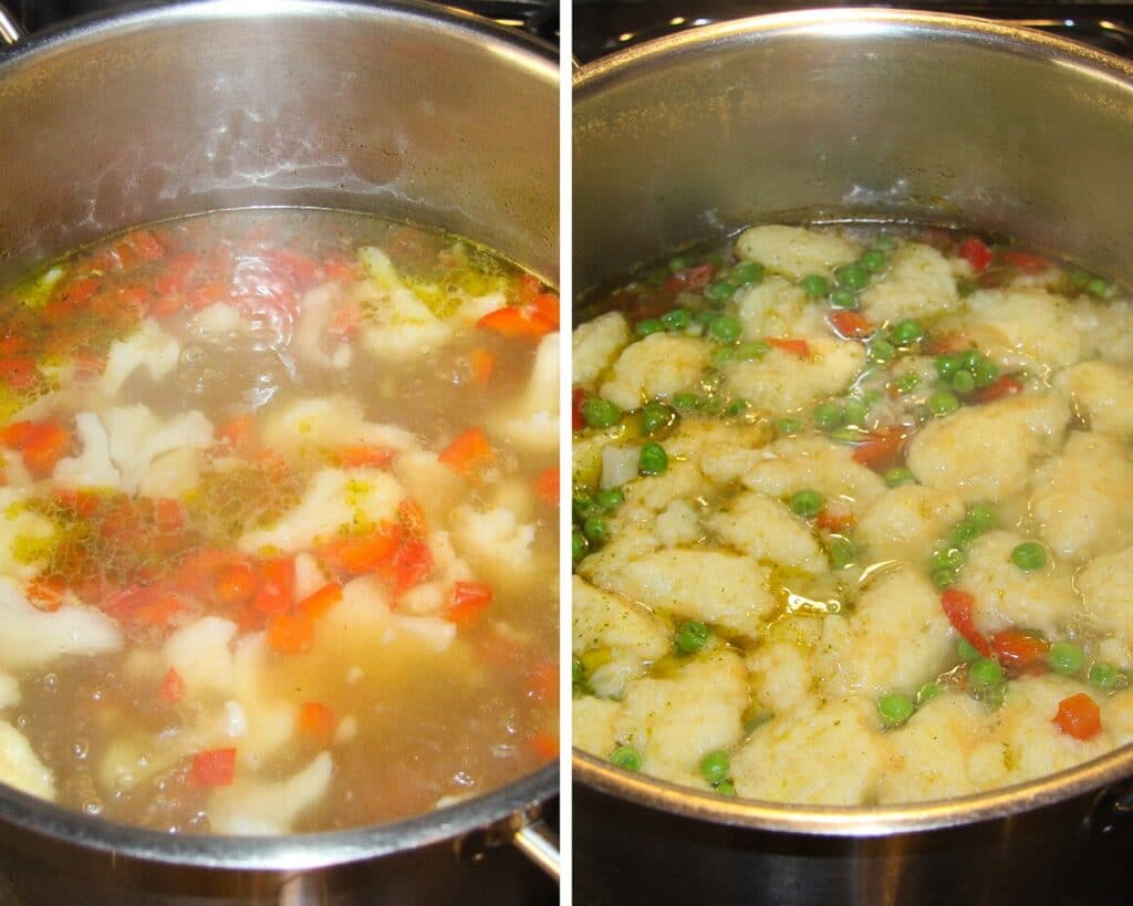 pot of chicken soup with vegetables