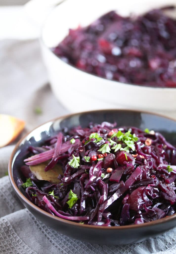 german red cabbage in a dark bowl ready to be served