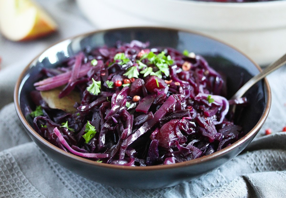 stewed red cabbage sprinkled with parsley