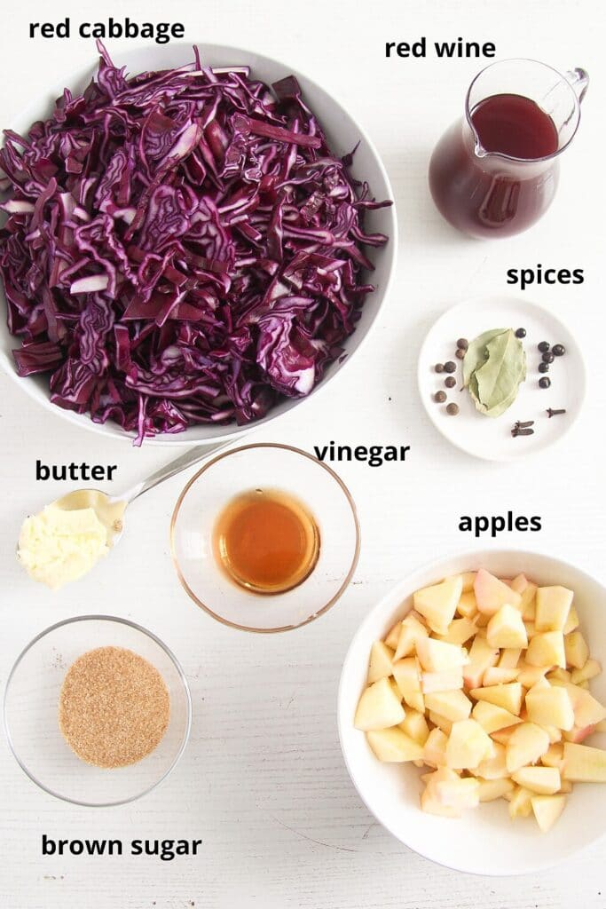 ingredients for german cabbage side dish