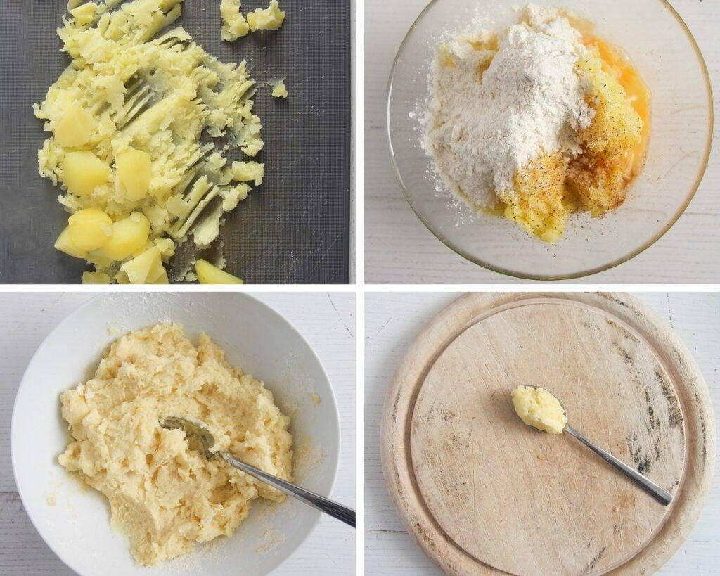 making potato dumplings for soup all the steps