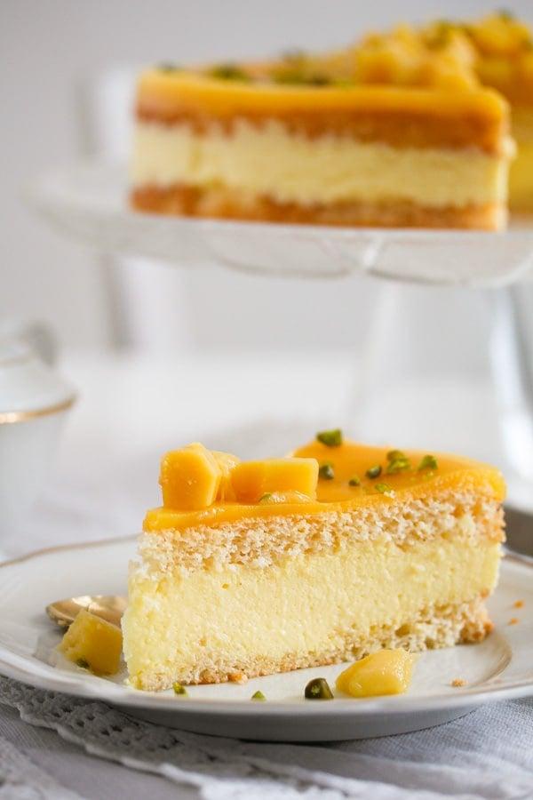 sliced mango mousse cake