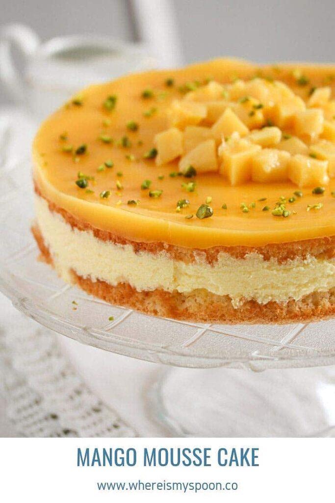 mango mousse cake with fresh mango on top