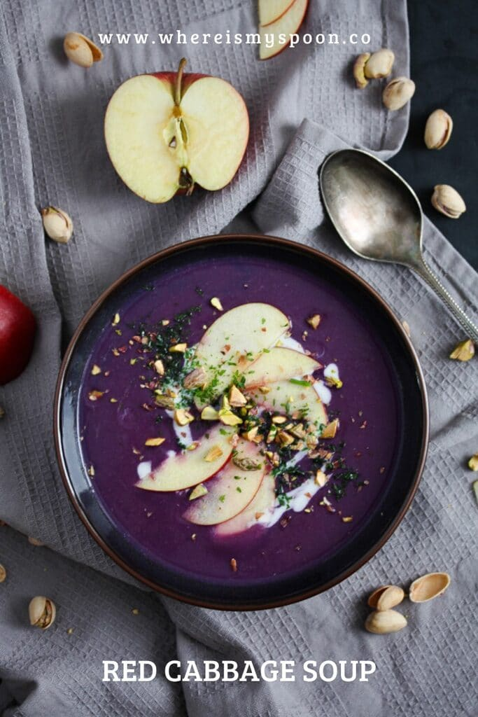 red cabbage soup with apple topping