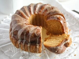 baileys bundt cake sliced and ready to be served