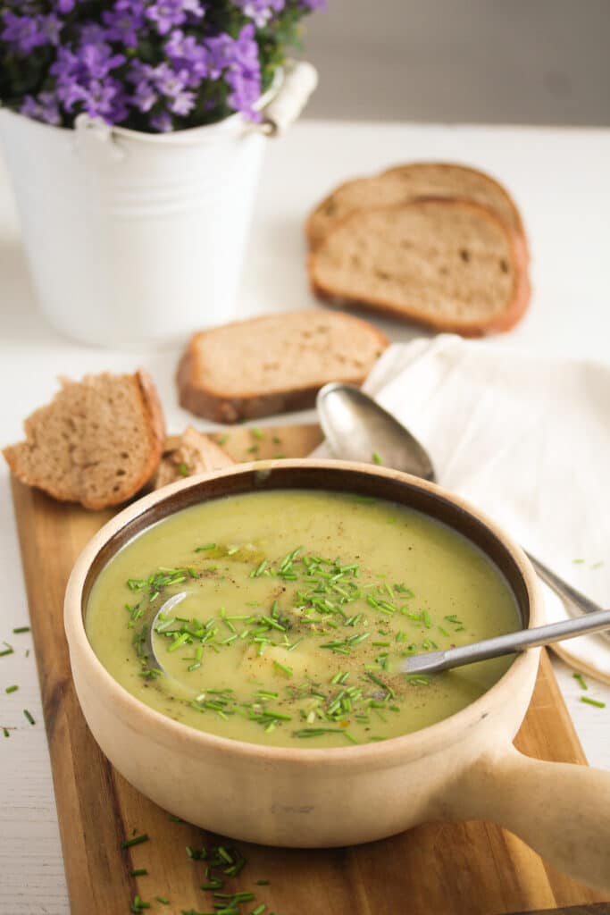 small pot with leek and potato soup