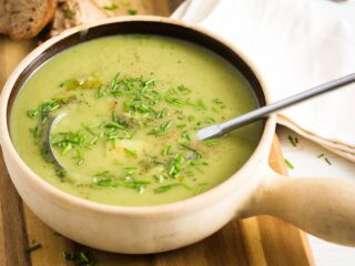 irish potato and leek soup ready to be served