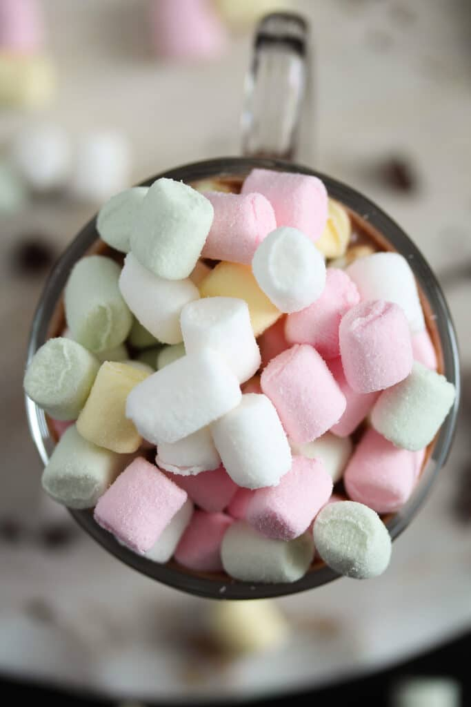 mini marshmallows topping for Baileys irish cream hot chocolate
