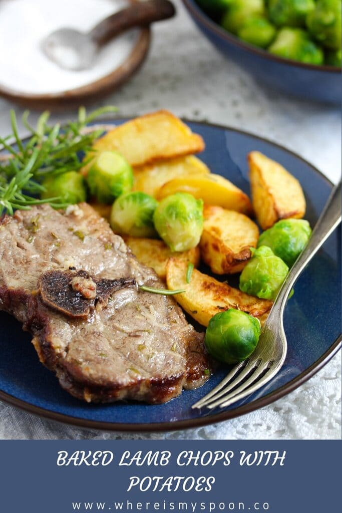 chops with potatoes and sprouts on a blue plate