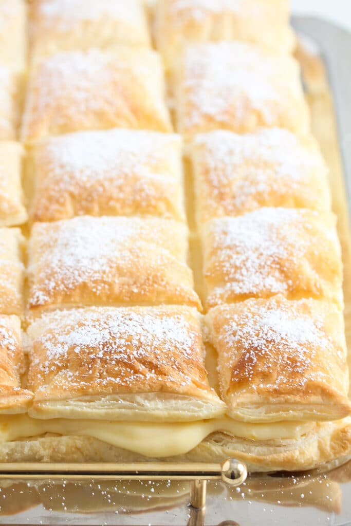 crispy layers of puff pastry filled with vanilla custard