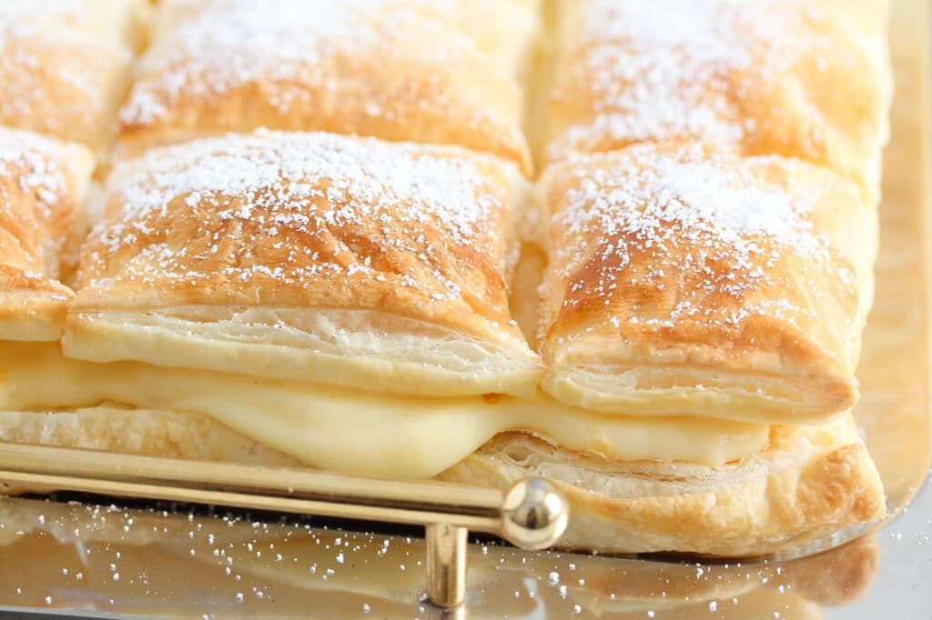 puff pastry cremeschnitte filled with custard close up