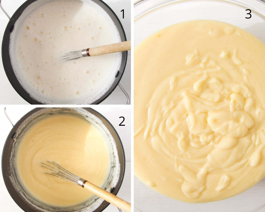 pot with custard and a whisk and custard in a bowl