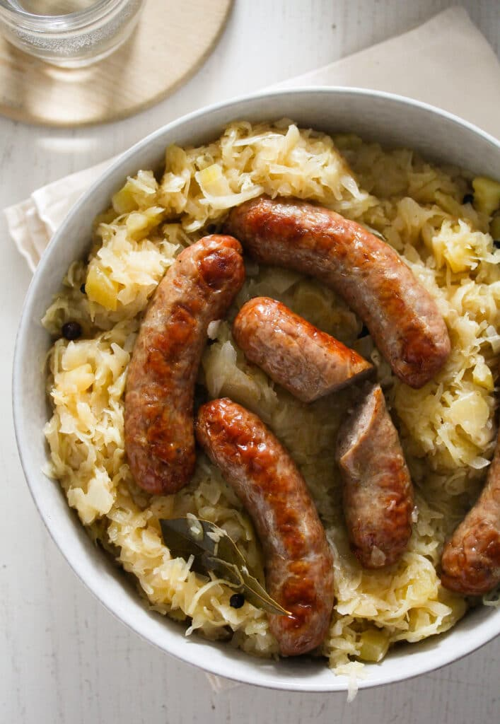 brats in oven served with german sauerkraut