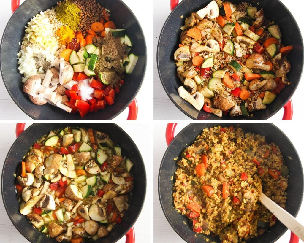 mixed vegetables, rice and lentils in a pot