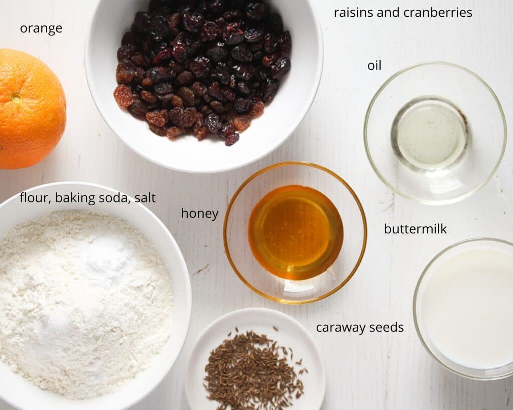 ingredients for soda bread