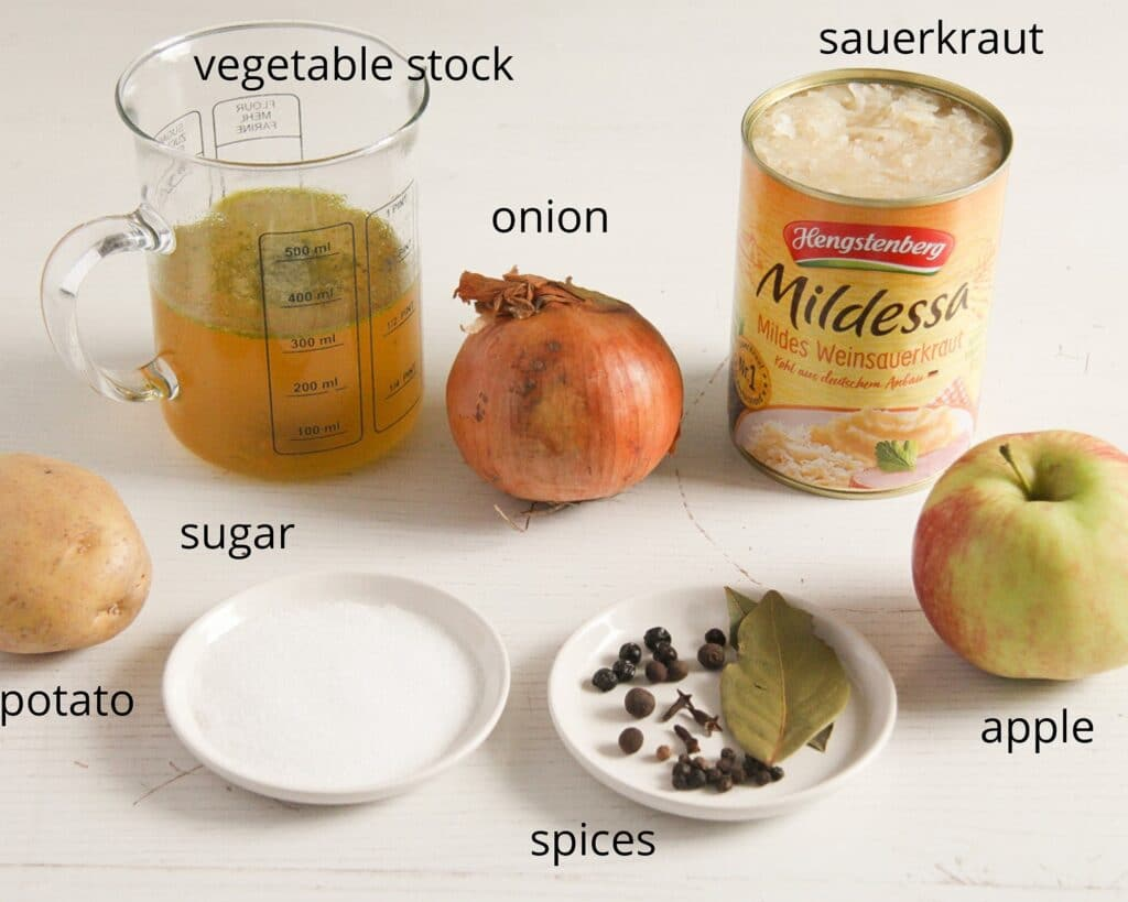ingredients for making sauerkraut from a can