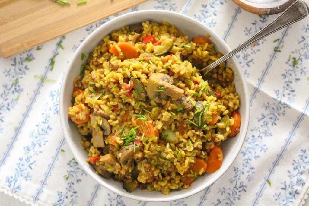 vegan one pot pilaf with lentils