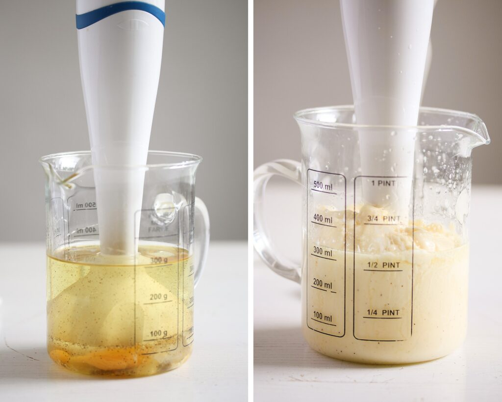 showing how mayonnaise made with an immersion blender emulsifies