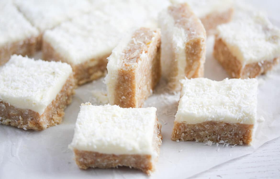 little cake squares with white frosting