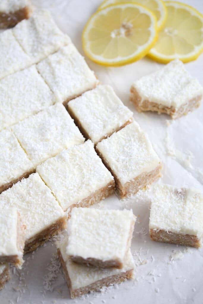 lemon slice with icing sugar frosting