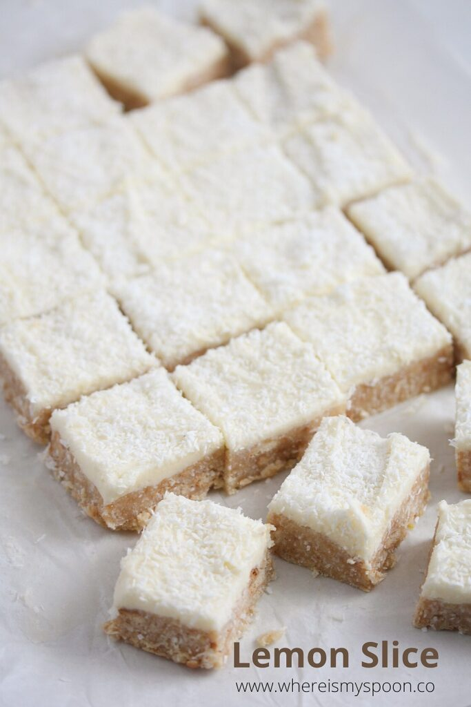 australian dessert lemon slice with coconut