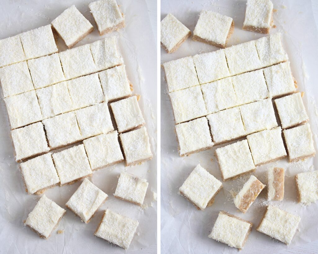 lemon cake squares on the table