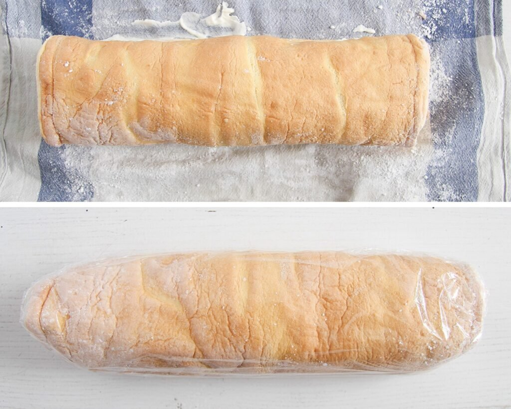 filled and rolled sponge wrapped in plastic foil