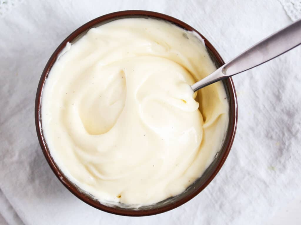 whole egg mayo made with an immersion blender