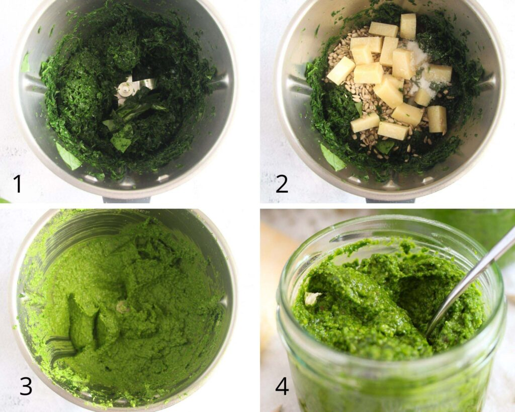 collage of four pictures of making pesto in thermomix.