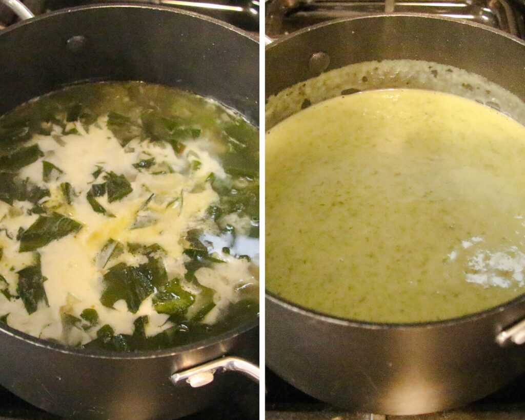 adding cream and blending soup