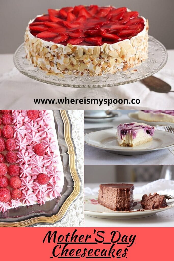 a collection of cheesecakes for mother's day