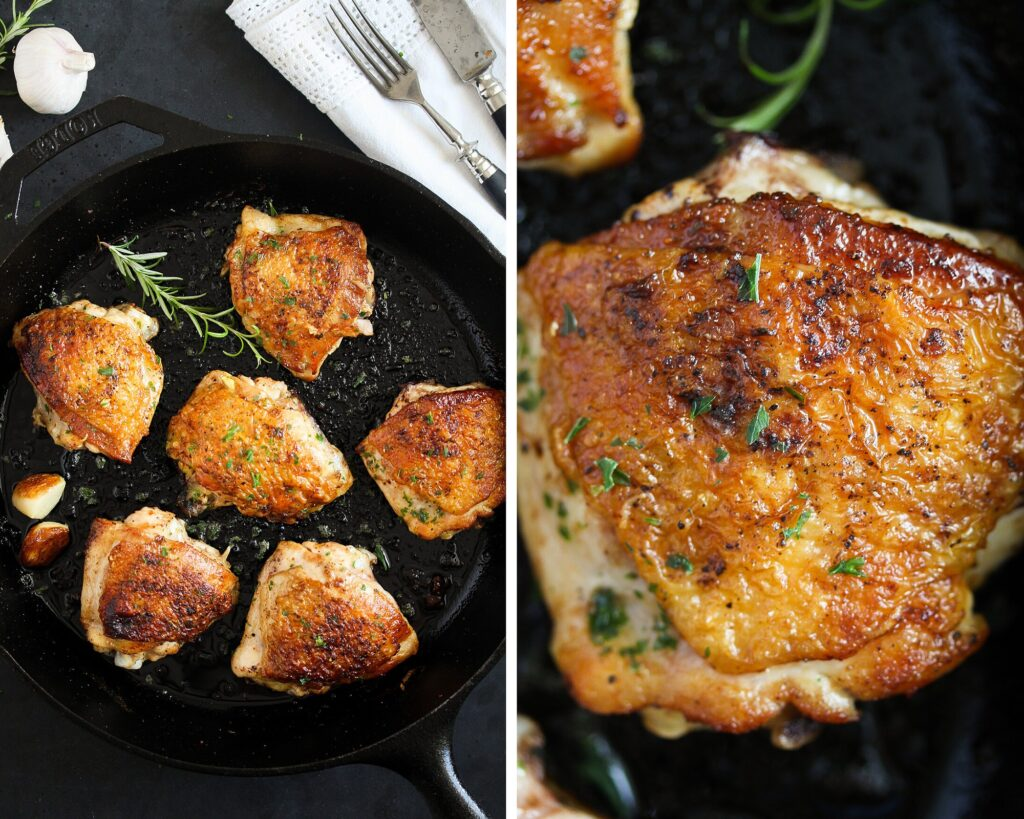cast iron chicken in the skillet