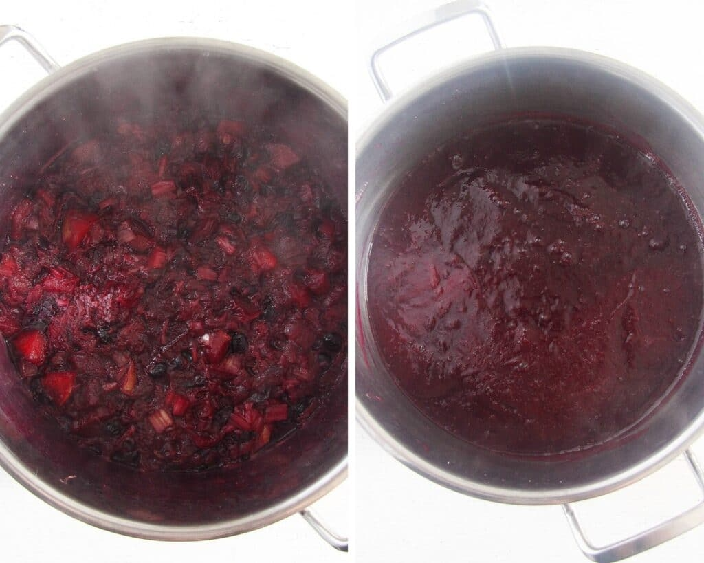 cooked and blended fruit for making preserves in a large pot
