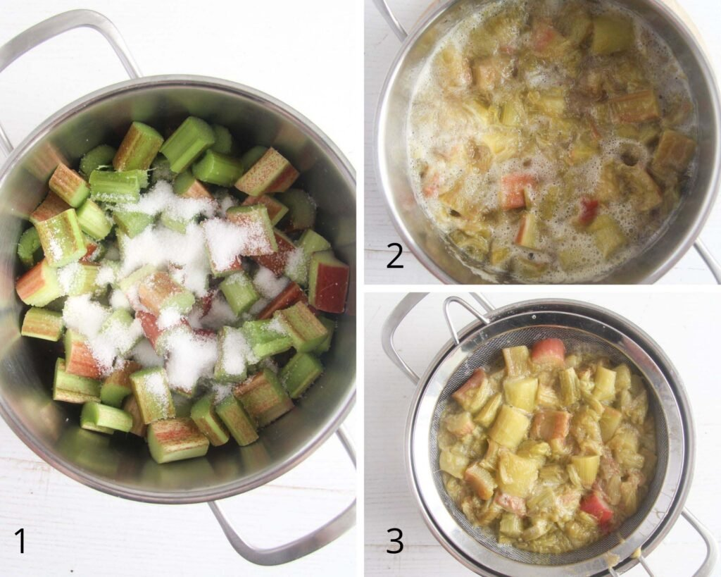 collage of three pictures of mixing chopped rhubarb with sugar, cooking and straining it.
