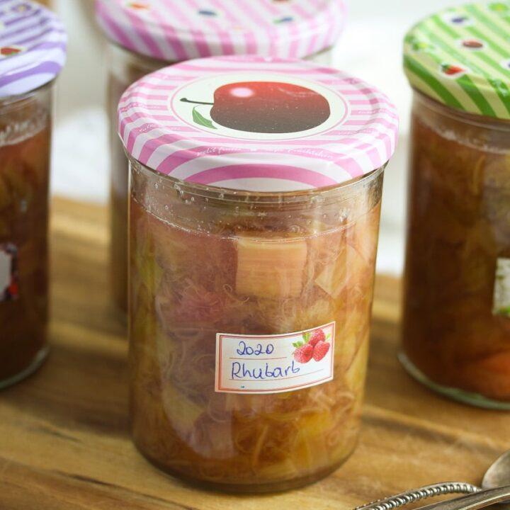 preserved rhubarb in sealed jars