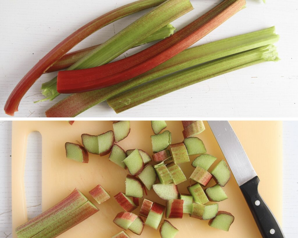 rhubarb stalks being chopped on a wooden board