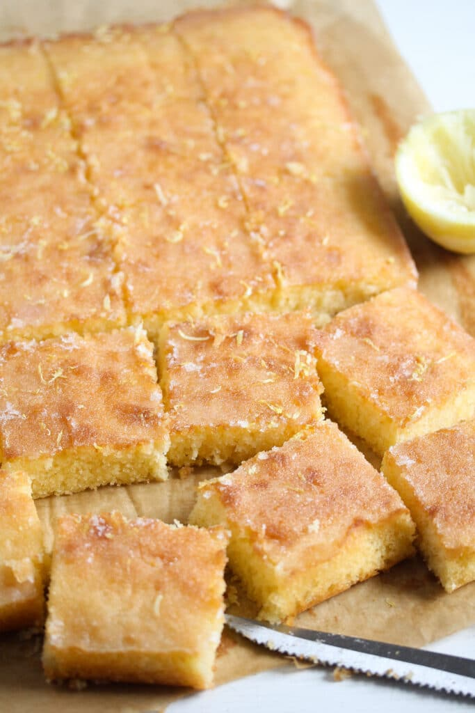 tray bake with lemon drizzle