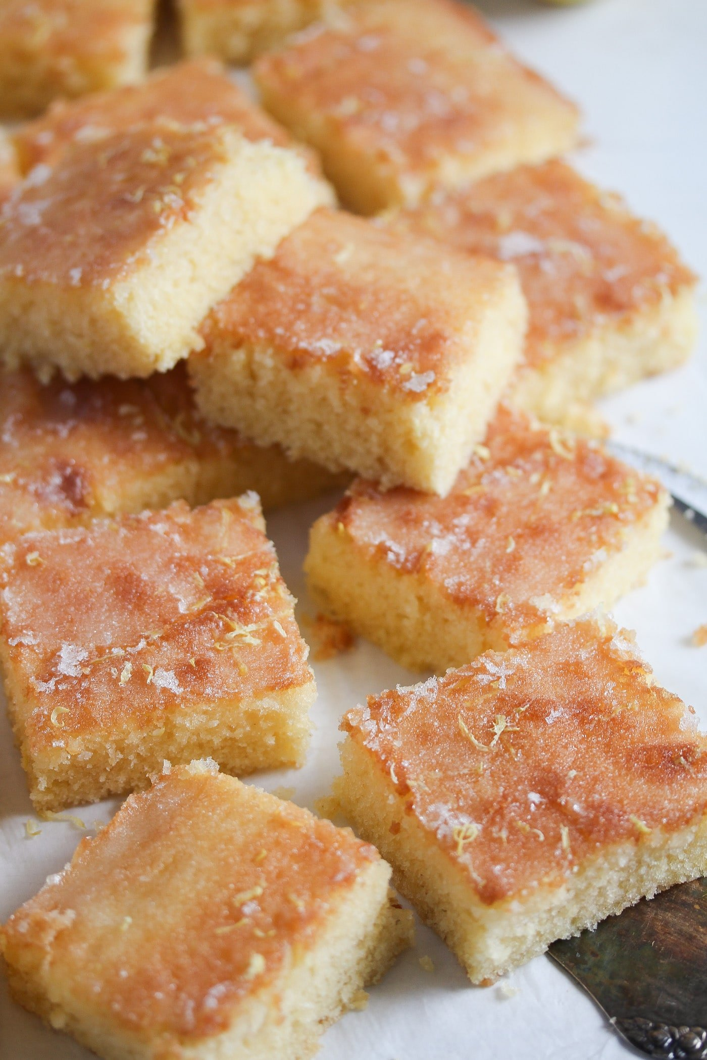 slices of soft lemon cake baked on a tray