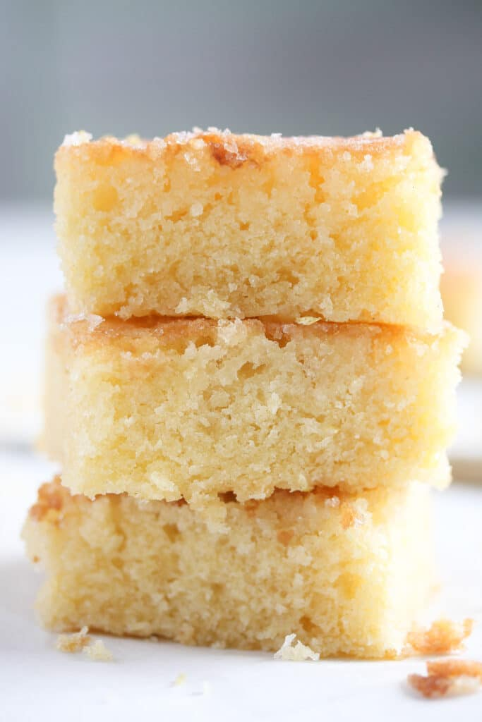 staple of soft cake with lemon drizzle