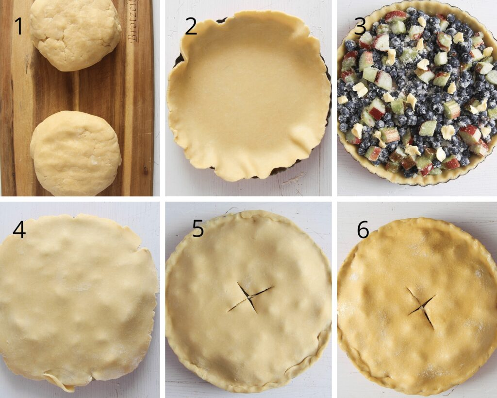 rolling crust dough and covering berry pie with it