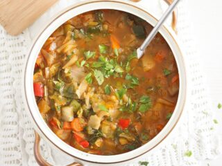 spanish vegetable soup in a serving soup bowl