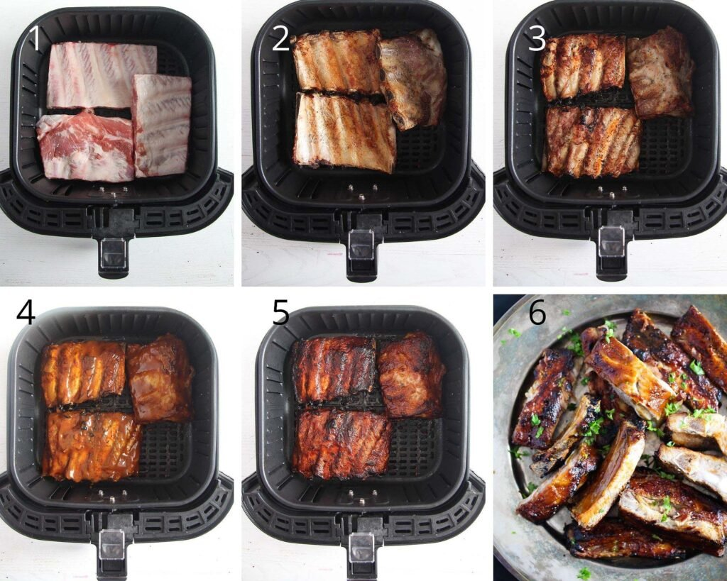 spare ribs in an air fryer basket before and after cooking