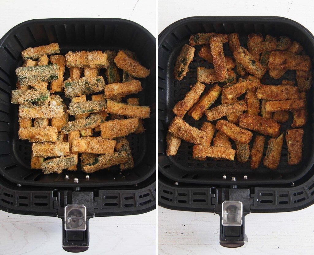 zucchini sticks in air fryer basket before and after cooking