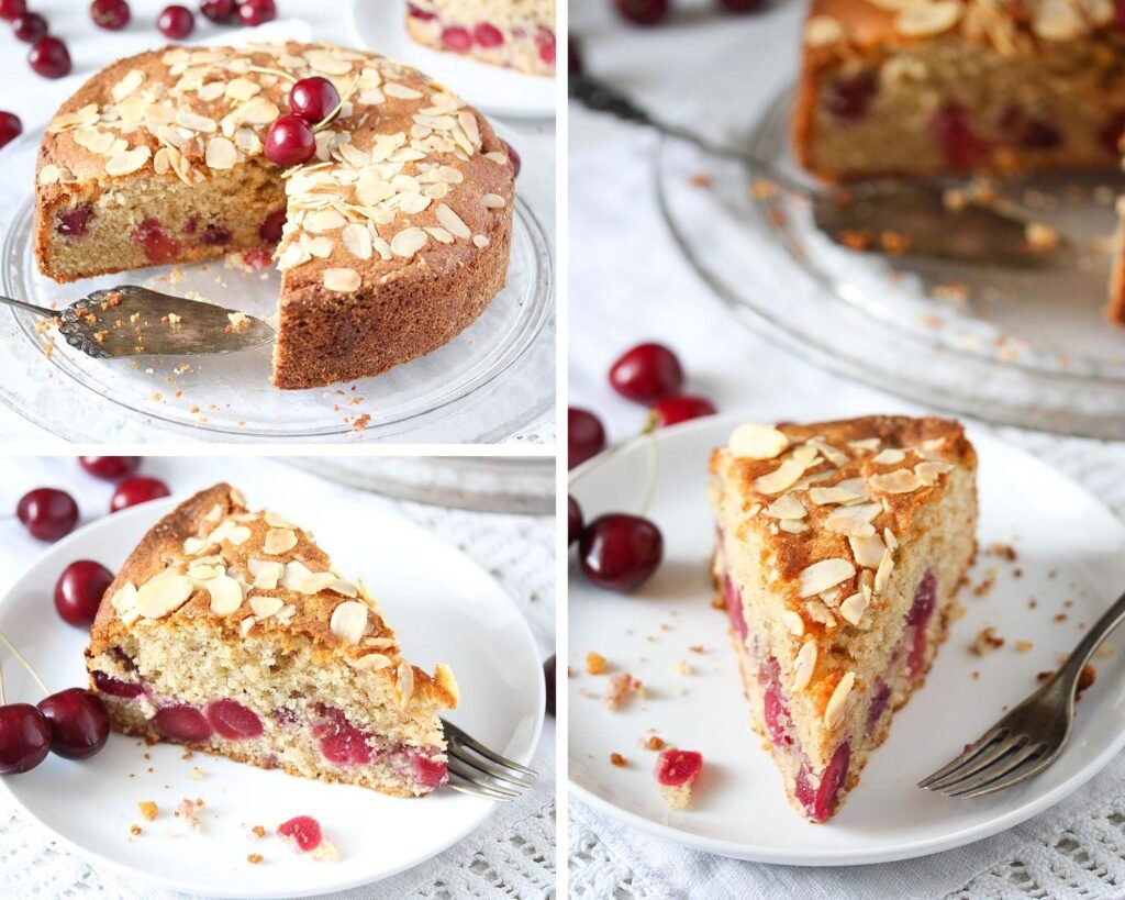 different pictures of an almond cake with fresh cherries
