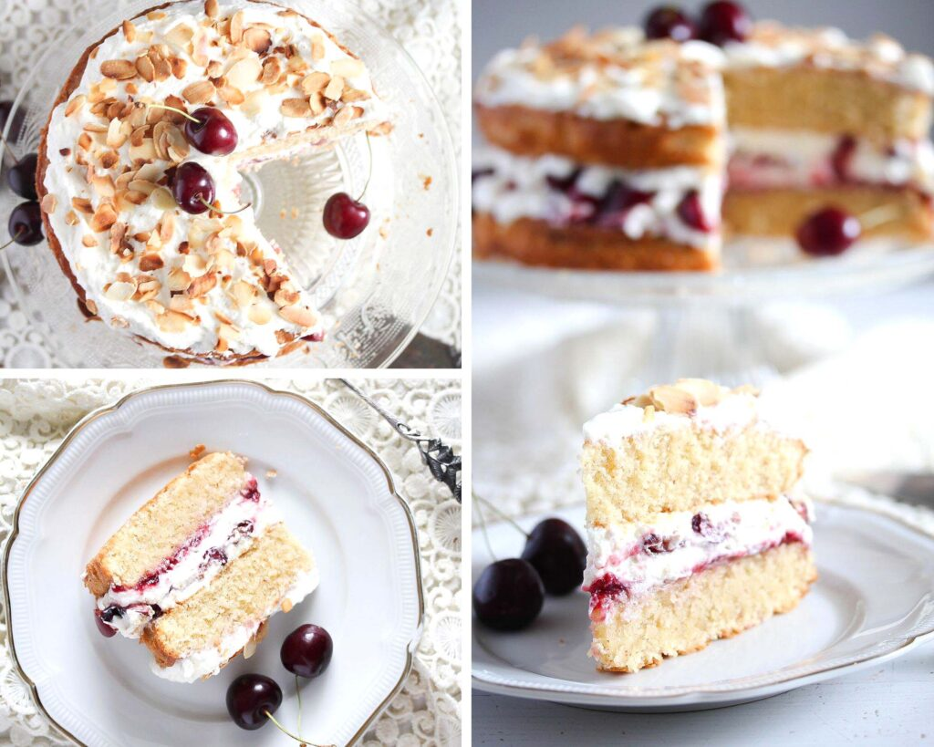 almond sponge cake filled with whipped cream and cherries