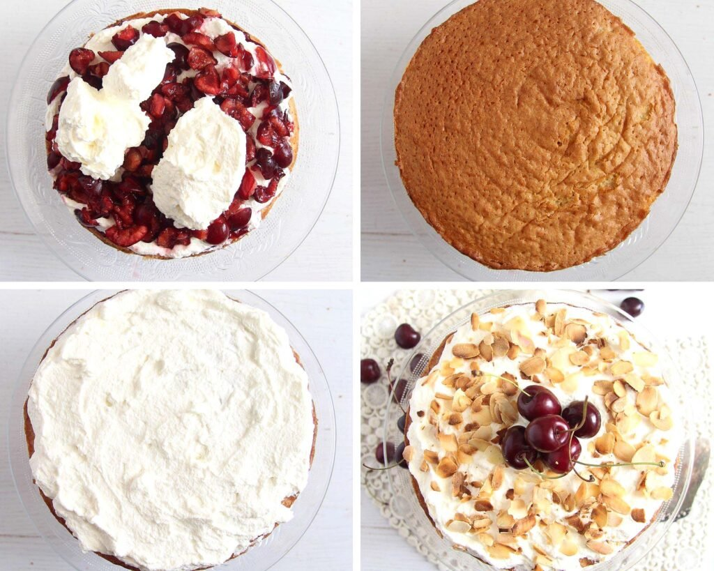 cover sponge with fruit and whipped cream