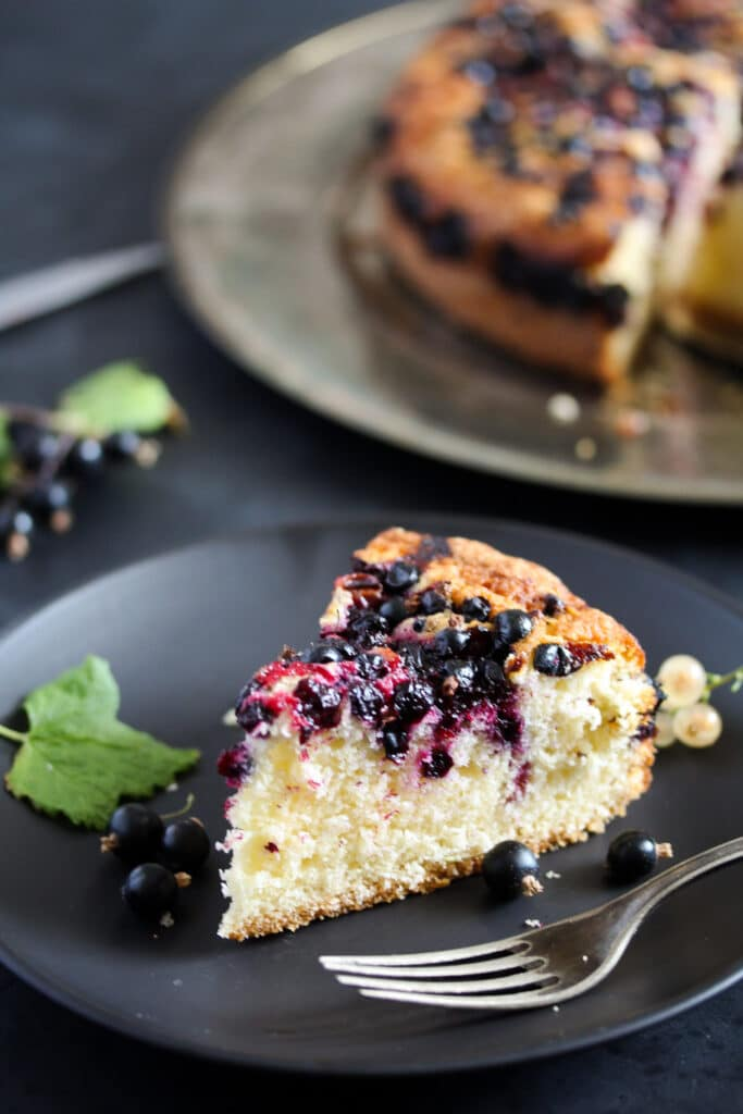 sliced soft cake slice on a small plate