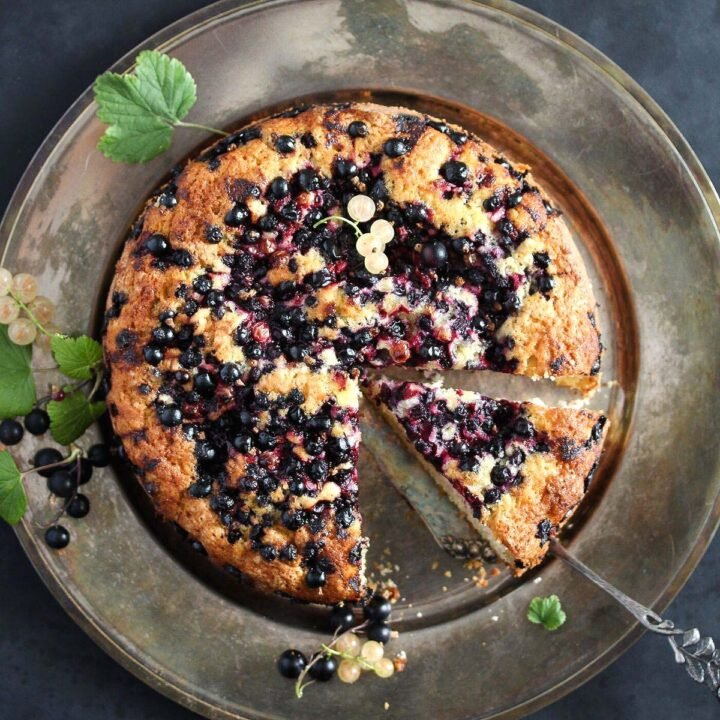 black currant cake with a leaf on a platter