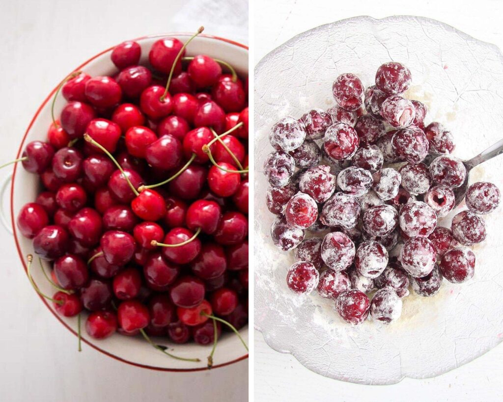 fresh cherries in a bowl and coated with flour in another bowl